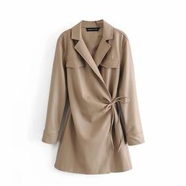 Fashion Stitching Leather Long-sleeved Dress  NSLD36858