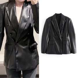 Temperament Mid-length Casual Leather Jacket  NSLD36860