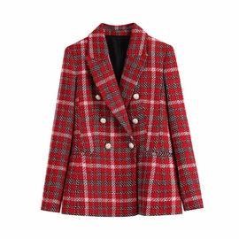 Retro Tweed Contrast Color Plaid Mid-length Suit Jacket NSLD36862