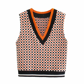 Casual Fashion Contrast Color Plaid Knitted Vest  NSLD36868