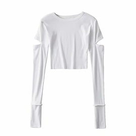 Slim Long-sleeved Casual Simple Solid Color Top NSLD36871