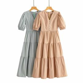 V-neck Short-sleeved Big Swing Dress  NSAM36884