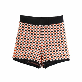 Spring Checkered Knitted Shorts NSAM36885