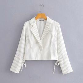 Lapel One Button Stripe Flared Sleeve Suit  NSAM36887