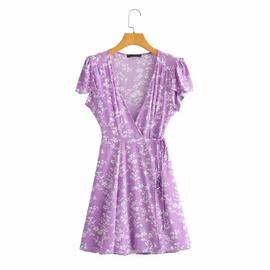 Retro One-piece Wrap-around Print V-neck Dress NSAM36891