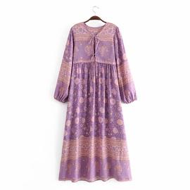 Rayon Print Tassel Long Sleeve Dress NSAM36894