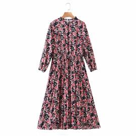 Print Pleated Nine-quarter Sleeves Dress  NSAM36896
