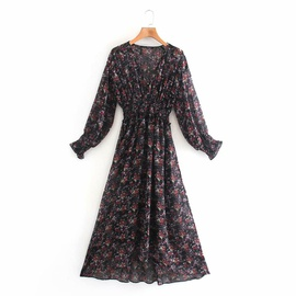 Spring Print V-neck Long Sleeve Dress NSAM36899