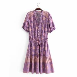 Rayon Tassel Short-sleeved Middle Dress NSAM36905