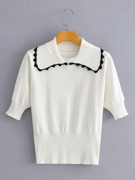 Large Lapel Short-sleeved Sweater   NSAM36906