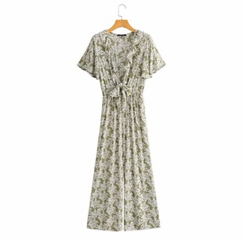 New Style V-neck Short-sleeved Chest Tie Printed Jumpsuit  NSAM36907