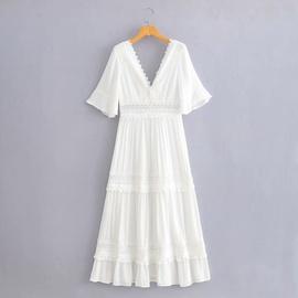 Hollow Embroidery V-neck High Waist Dress  NSAM36914