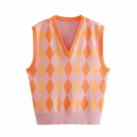 Diamond Check Knitted Vest  NSAM36915