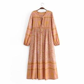Rayon Print Tassel Bohemian Long Sleeve Dress NSAM36918