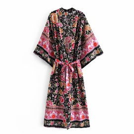 Rayon Print Belt Kimono Dress  NSAM36921