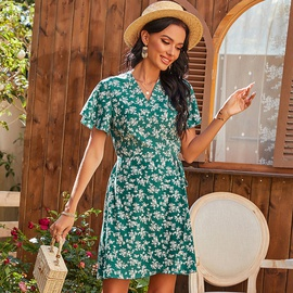 Spring Waist Tie V-neck Print Dress  NSDF36973
