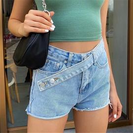 Oblique Placket Belt Denim Shorts NSHS36982