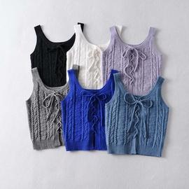 Twist Woven Cross Knitted Suspender Vest  NSHS36983
