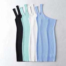 Slanted Shoulder Strap Bag Hip Knit Dress NSHS36988