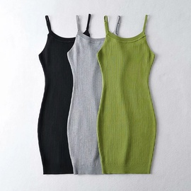 Sexy Shoulder Strap Adjustable Knit Dress  NSHS36989