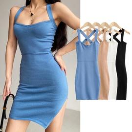 Sexy Side Slit Cross Leak Back Dress  NSHS36993