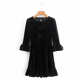 Slim Velvet Ruffled Three-quarter Sleeves Dress NSHS36994