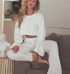 New Flared Sleeve T-shirt Drawstring Elastic Waist Flared Pants Set NSHS36996
