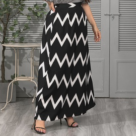 Elastic Waist Loose Big Hem Striped Skirt   NSJR37070