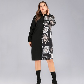 Plus Size Retro Hit Color Printing Stitching Shirt Dress  NSJR37073