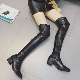 Over-the-knee Pointed Elastic Leather Boots  NSHU37143