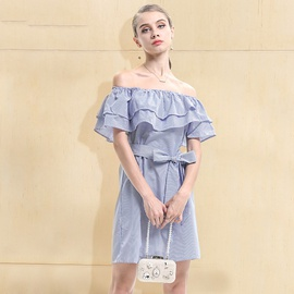 Off-the-shoulder One-line Collar Ruffle Striped Dress NSJR36731