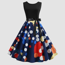 Colors Polka Dot Printed Sleeveless Dress NSJR36736