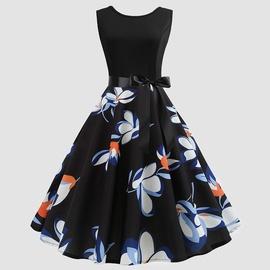 Printed Bowknot Decorated Sleeveless Dress NSJR36737