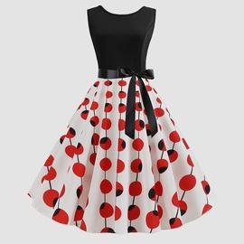 Bowknot Polka Dot Printed Sleeveless Dress NSJR36738