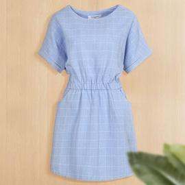 Casual Simple Plaid Loose Waist Short-sleeved Dress NSJR36741