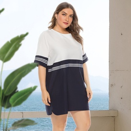 Plus Size Round Neck Stitching Short Sleeve Dress  NSJR36748