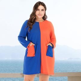 Plus Size Round Neck Contrast Long-sleeved Dress NSJR36753