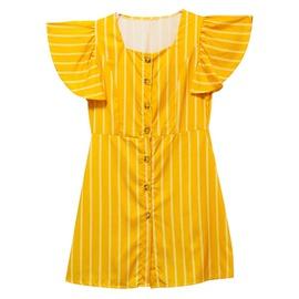Round Neck Flying Sleeve Striped Dress NSJR36754