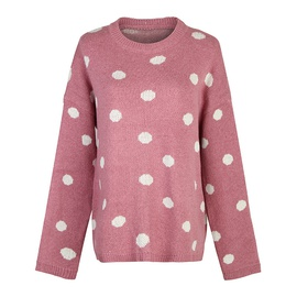 Fashion Polka Dot Casual Loose Long Sleeve Sweater   NSJR36761