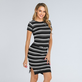 New Knit Striped Slim Short Skirt Set NSJR36786