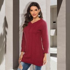 V-neck Long-sleeved Sweater Dress  NSJR36787
