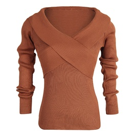 V-neck Slim-fit Knit Pure Color Bottoming Knitted Sweater  NSJR36790