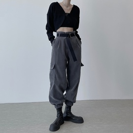 New Fashion High Waist Belt Gray Casual Overalls NSLQ37153