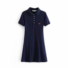 Embroidered Cotton Short Sleeve Slim Dress NSAM37160