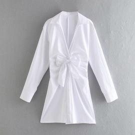 Spring Knotted Poplin Long Sleeve Dress NSAM37161
