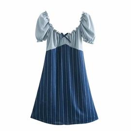 New Square Neck Puff Sleeve Stitching Dress  NSAM37163