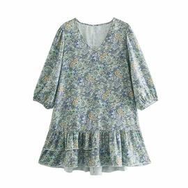 Spring Silk Satin Texture Printing Dress NSAM37164