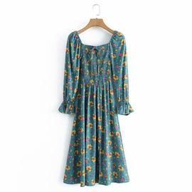 Rayon Watermarked Floral Elastic One-shoulder Long-sleeved Dress  NSAM37166