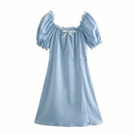 Square Neck Puff Sleeve Lace Waist Blue Dress  NSAM37179