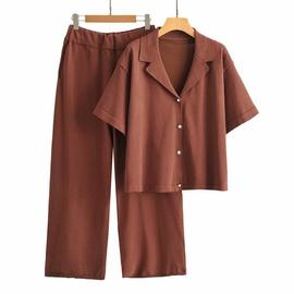 Knit Top Straight Leg Pants Set NSAM37182